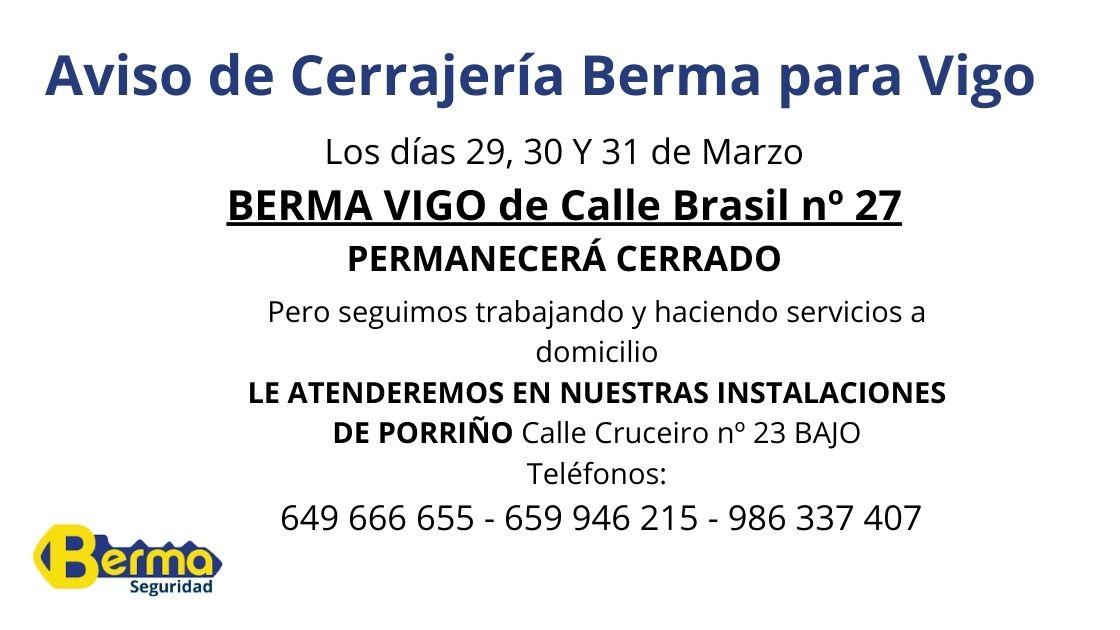 Aviso tienda Vigo Berma